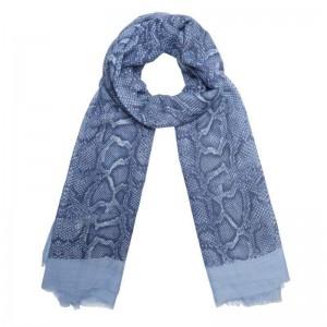 Sjaal slangenprint blauw.