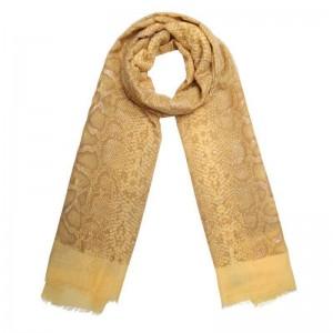 Sjaal slangenprint geel.
