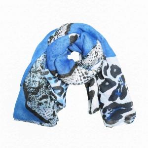 Sjaal panterprint blauw.