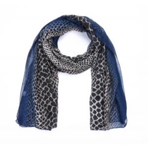 Sjaal croco donkerblauw.