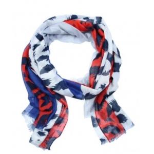 Sjaal panterprint blauw/rood.