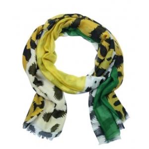 Sjaal panterprint geel/ groen.