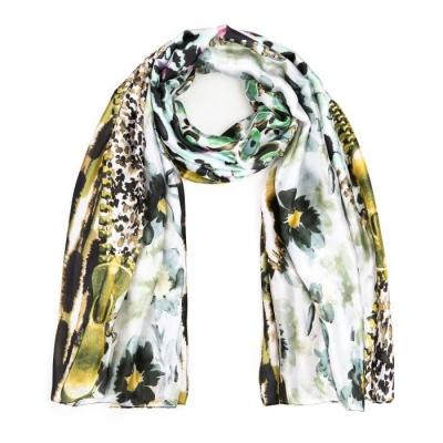 Bloemen print sjaal groen.
