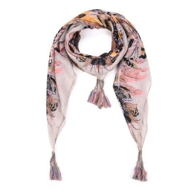 Driehoek sjaal met tassels grijs.