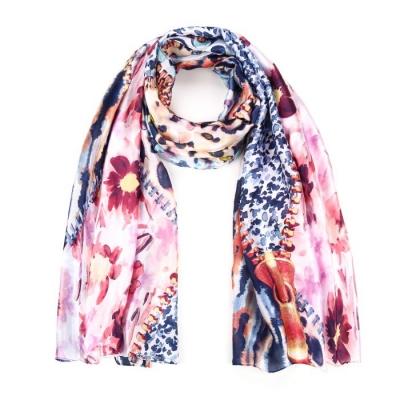 Bloemen print sjaal roze.