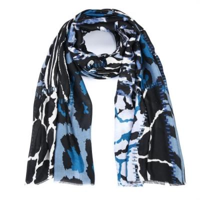 Sjaal mix dierenprint blauw.