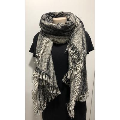 Sjaal zwart/ wit met zilver.