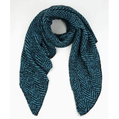 Warme sjaal met punt zigzag petrol.