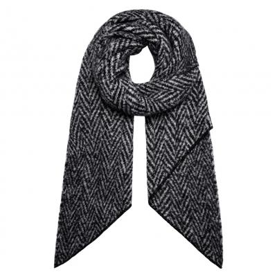 Warme sjaal met punt zigzag zwart.