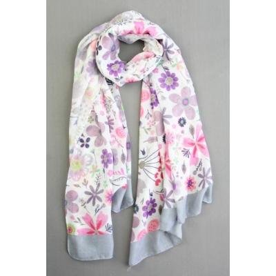 Sjaal bloemenprint grijs.