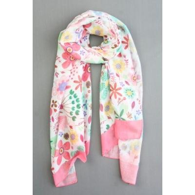 Sjaal bloemenprint roze.