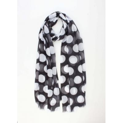 Sjaal met bolletjes zwart.