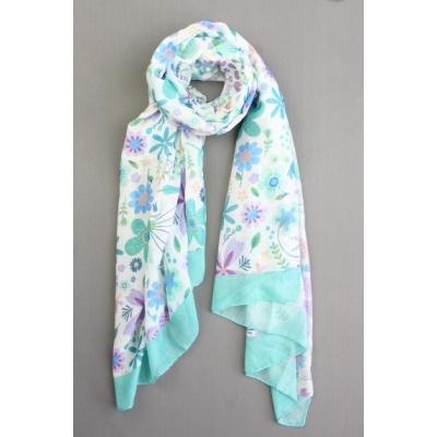 Sjaal bloemenprint groen.