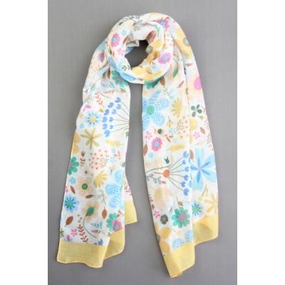 Sjaal bloemenprint geel.