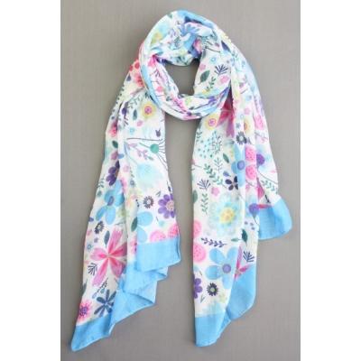 Sjaal bloemenprint blauw.
