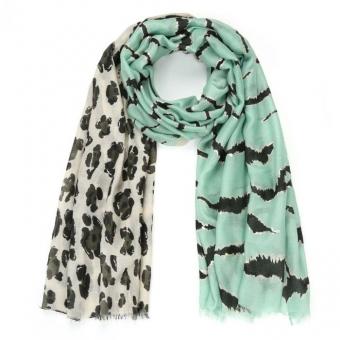 Sjaal panterprint groen.