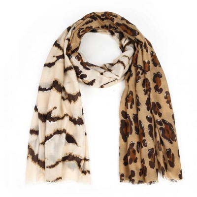 Sjaal panterprint bruin.