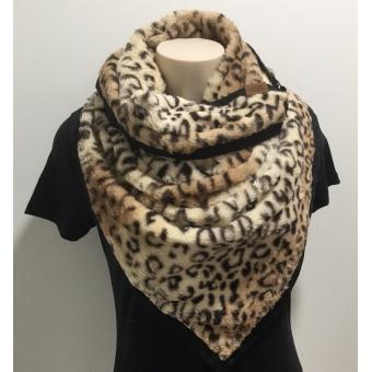 Warme driehoek sjaal panterbruin.