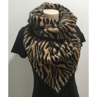 Warme driehoek sjaal zebraprint bruin.