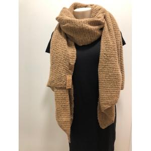 Warme sjaal met schuine punten taupe.