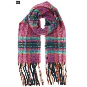 Warme sjaal ruit violet.