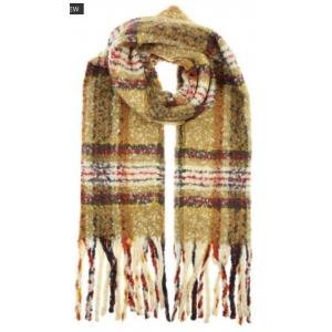 Warme sjaal ruit camel.