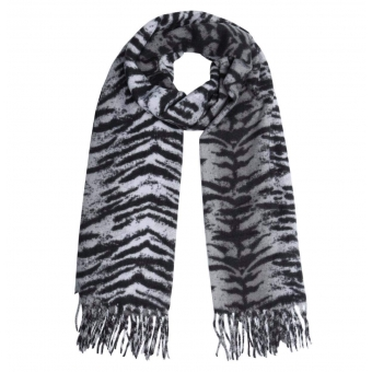 Tijgerprint sjaal grijs.