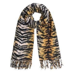 Tijgerprint sjaal okergeel.