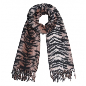 Tijgerprint sjaal bruin.