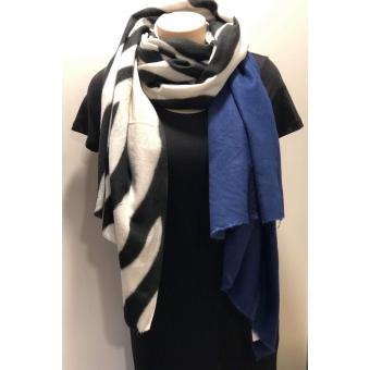 Warme sjaal zebra blauw.