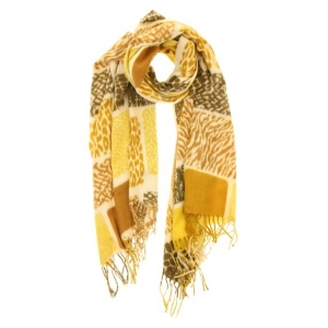 Sjaal dierenprint okergeel.