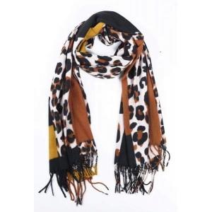 Sjaal panterprint bruin/ okergeel.