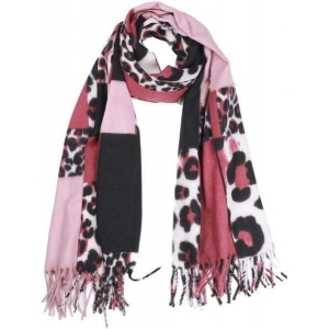 Sjaal panterprint roze.