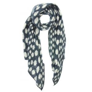 Sjaal met stippen donkerblauw.