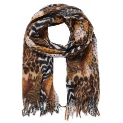 Warme sjaal animalprint bruin.