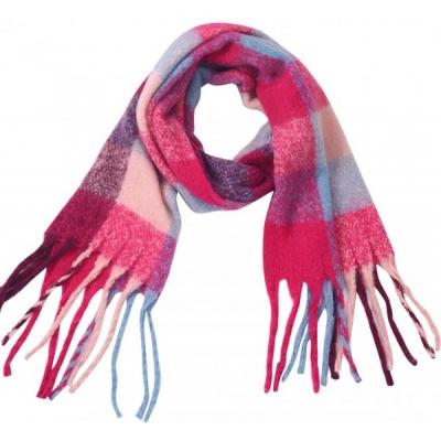 Warme ruit sjaal roze.