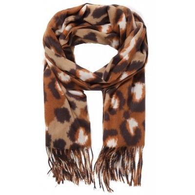 Warme sjaal panterprint bruin.