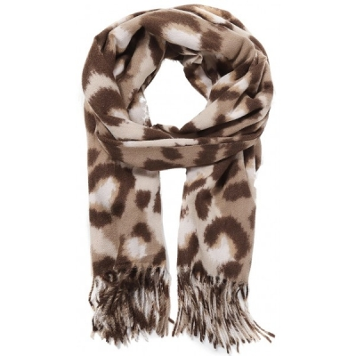 Warme sjaal panterprint beige.