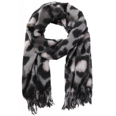 Warme sjaal panterprint grijs.