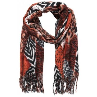 Warme sjaal animalprint oranje.