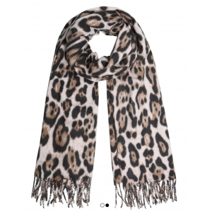 Warme panterprint sjaal beige.