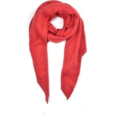 Warme sjaal met punt rood.