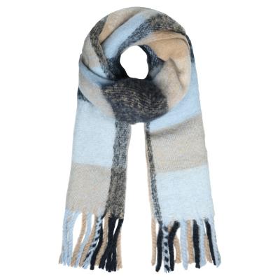 Sjaal colored blocks blauw.