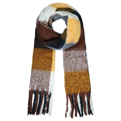 Sjaal colored blocks bruin.