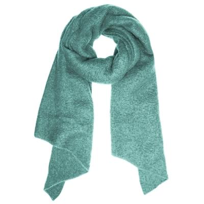 Warme sjaal met punt zeegroen.