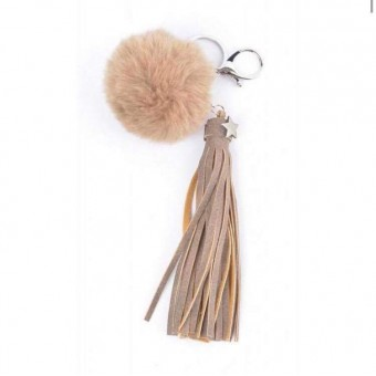 A Sleutelhanger pluche met kwast taupe.