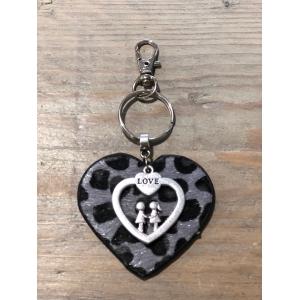 Sleutelhanger hart vachtje grijs panterprint love.