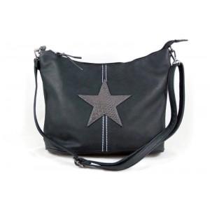 Poef tas met ster antraciet zwart.