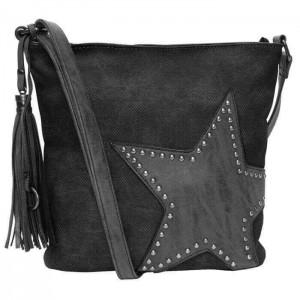 Tas met studs en ster zwart.