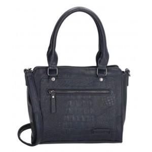 Donkerblauwe tas met croco print.